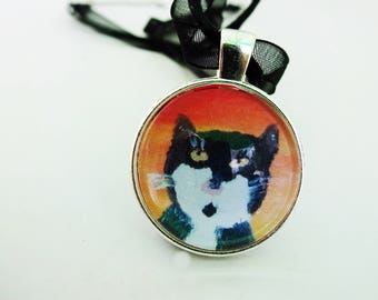 Cat Necklace,Cat Lover Gift,Cat Jewelery,Cat Pendant,Kitty Necklace, Primitive Art Print,Cat Painting,Cat mom gifts,Cat Charm,Black Cat