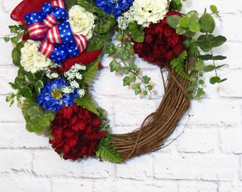 Floral Patriotic Wreath, Memorial Day Wreath, Fourth of July Wreath,  Red White and Blue Wreath, Americana Wreath, Summer Wreath