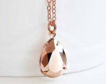 Rose gold necklace - rose gold pendant - rose gold teardrop necklace - Swarovski crystal - crystal necklace - rose gold jewelry