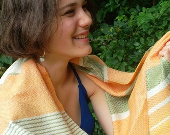 Hand woven scarf, wool baby camel and silk, Merino, peach, striped