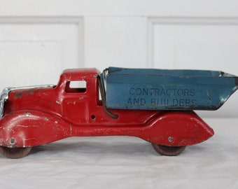 Antique toy truck with wooden wheels rare