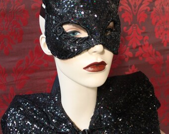 Midnight Kitty -  Black Sequined Kitty Cat Mask With Silk Lace Detail ~ Sexy Mask ~ Mardis Gras Mask- To Order