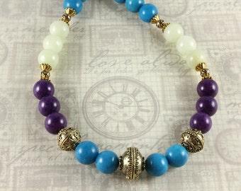 Jade Necklace, Mountain Jade Color Block Necklace, Purple Jade, Turquoise Jade, Sea Green Jade, Gemstone Necklace