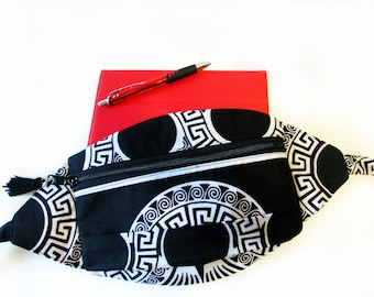 Tribal  Black and White  Festival Fanny Pack  Womens Fanny Pack  Travel Fanny Pack   Summer Fanny Pack   Hip Bag  Fanny Pack