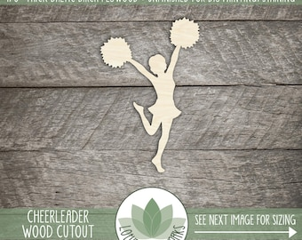 Wood Cheerleader Laser Cut Shape, Cheerleader Room Decoration, Cheerleader, Wood Cheerleader, DIY Crafting Supply, Many Sizes And Shapes