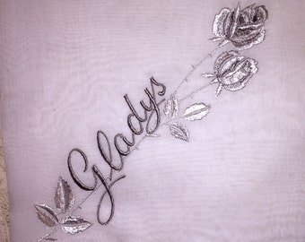 Vintage White Hanky with a Something Blue Initial  F - Handkerchief Hankie