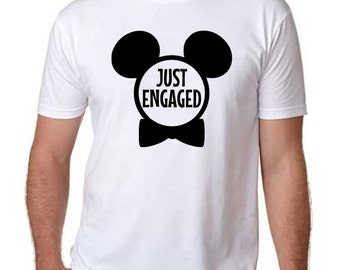 Just Engaged,Disney inspired shirt,Disney Tshirt,Men's Disney Shirt,Disney shirt,Just Engaged,Just Engaged Mickey