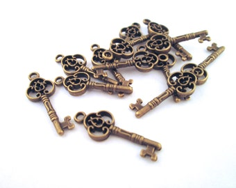 Brass keys charms 10x28mm, pick your amount, D149