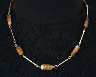Vintage Gold tone Glass Bead Necklace, Faux Agate, 1960's