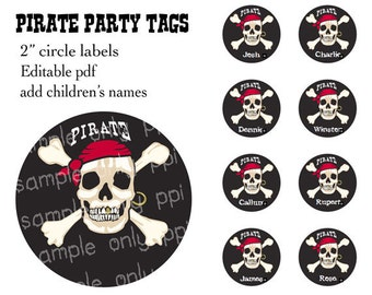 """Pirate Party 2"""" circle labels - editable PDF - add your own text"""