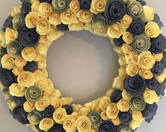 Paper flowers/Yellow paper flowers/gray paper flowers/Yellow and Gray paper flower wreath/paper flower wreath/yellow and gray paper decor