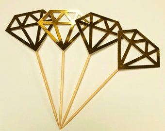 12 x Gold diamond Cupcake Toppers