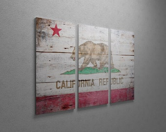 "Vintage California Flag Gallery Wrapped Canvas Triptych Print 48"" x 30"""
