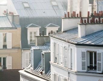 Morning light in Montmartre, soft blue and grey tones Paris, France, Paris Photography, winter in Paris, architecture, Parisian rooftops