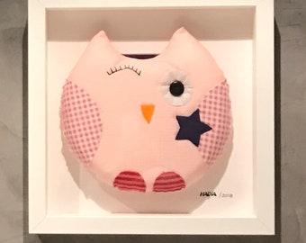 Pink Fabric handmade Owl