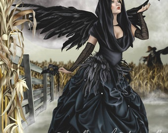Raven Fairy Crow Witch Corn Moon Masquerade Blackbird - Fantasy Fine Art Print