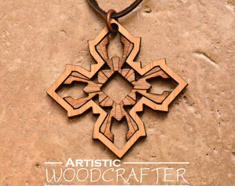 Wood Geometric Pendant (Bamboo/Walnut)