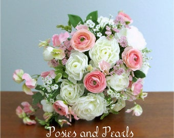 """Cascading White and Light Pink Silk Flower Bridal Bouquet, Ranunculus, Sweet Peas, Queen Anne's Lace, Baby's Breath, Petite Size, """"Lyndee"""""""