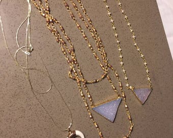 Viking Princess   triangle druzy wire wrapped 3 layer necklace