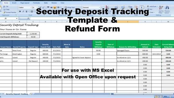 rental deposit tracking form landlord tenant security deposit. Black Bedroom Furniture Sets. Home Design Ideas
