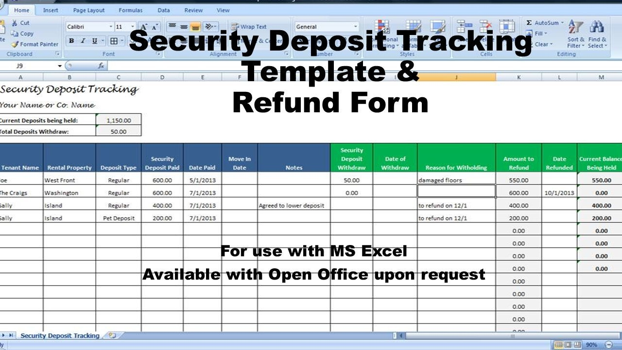 Rental deposit tracking form landlord tenant security deposit zoom thecheapjerseys Choice Image
