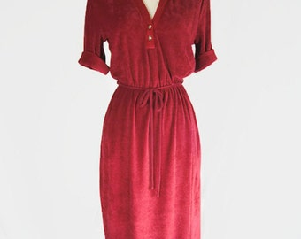Vintage Belted Dress Raspberry Red by Toscana Women's