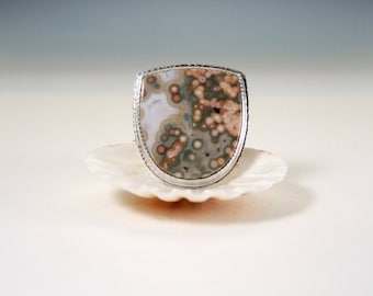 Ocean Jasper Statement Ring in Sterling Silver, Pinks Greens White
