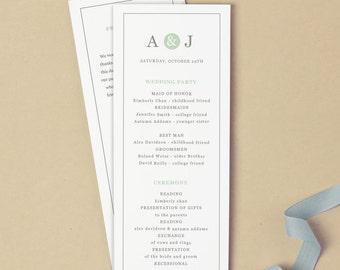 Printable Wedding Program Template | INSTANT DOWNLOAD | Mint Type | Flat Tea Length | Editable Colors | Mac or PC | Word & Pages