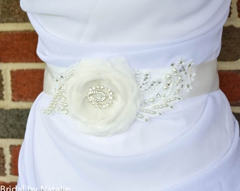 Bridal Sash - Floral Wedding Sash - Flower Sash - Floral Bridal Sash - Bridal Sash Applique - Bridal Applique - Pure Silk Flower Sash