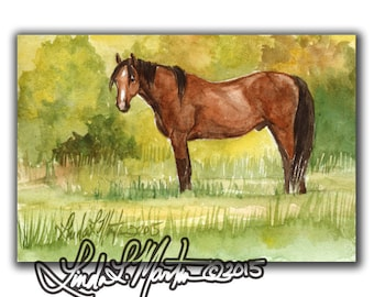 Horse Art Landscape Pastorial LLMartin Original Watercolor Painting- Virginia Country