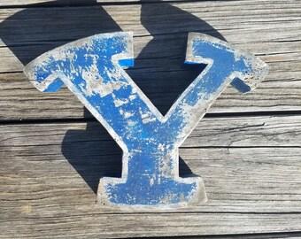 Distressed Wooden distressed BYU Y logo