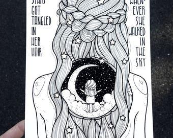 """inktober 15 • """"stars got tangled in her hair.."""""""