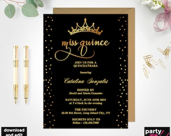 Quinceanera invitation template etsy quinceaera party invitation template miss quince black and gold printable quinceaera quince 15 years old diy quinceaera bd35 solutioingenieria Gallery