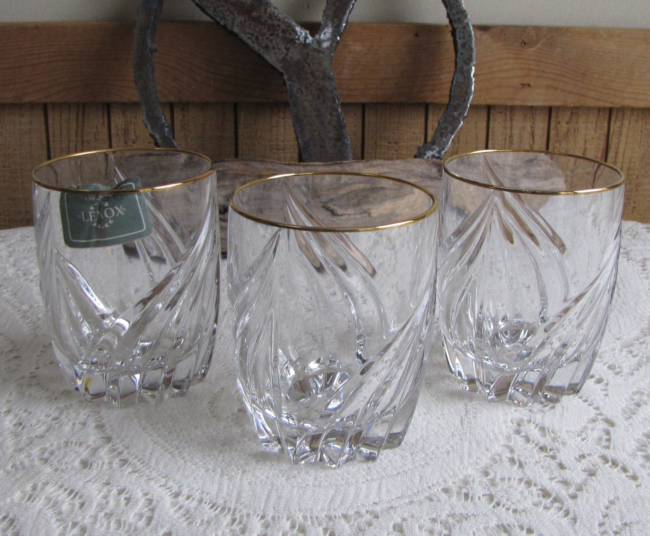 Lenox Debut Crystal Double Old Fashioned Or Whiskey Glasses Set Of Three  (3) Vintage Barware