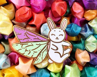Moth Fairy Rabbit - Hard enamel pin - kawaii accessories, rabbit lapel pin, bunny rabbit enamel pin, cute bunny pin, cute bunny enamel pin