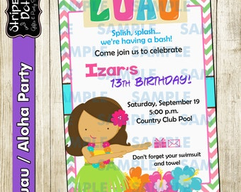 Luau Party Invitations-Hawaiian Invitations-Aloha Invitations