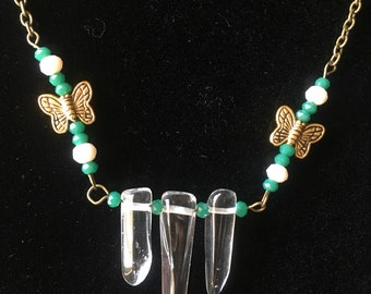 ABSOLEM Butterfly Polished Quartz Crystal Necklace