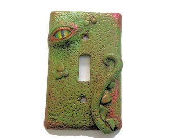 Decorative Switch Plate Cover - Green Dragon Eye Light Switch - Polymer Clay Switch Plate Cover - Boys Room- Dragon Switchplate