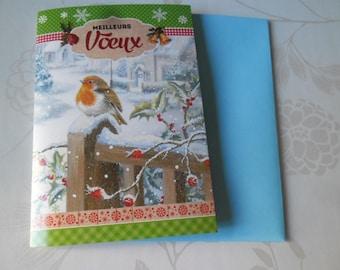 1 x double cardstock patterned bird card + envelope 16 x 11.25 cm