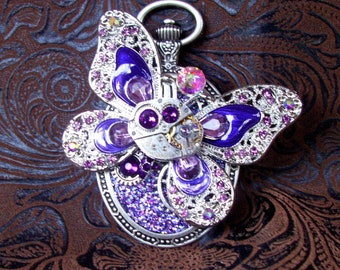Steampunk Pin (P807) Butterfly Brooch, Hand Painted Acrylic, Gears and Swarovski Crystals, Purple, Violet, Silver, Aurora Borealis