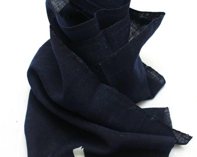 Japanese Indigo Cotton. Artisan Aizome Boro Textile. Blue Vintage Folk Fabric with White Kanji (Ref: 1846A)