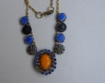 VINTAGE RHINESTONE BUTTON Necklace Salmon Coral Sapphire Amber gorgeous Versatile