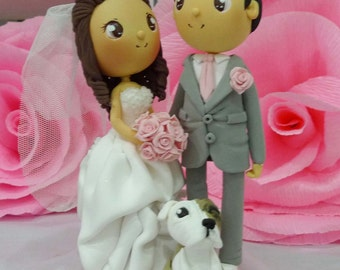 Wedding cake topper light pink wedding with cute puppy clay doll, engagement clay figurine decoration, clay miniature ring holder, nice gift