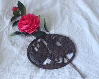 Rooster trivet, Rooster, Trivet, wrought iron.