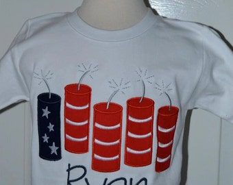 Personalized 4th of July Patriotic Fireworks Firecracker Flag Applique Shirt or Bodysuit Girl Boy