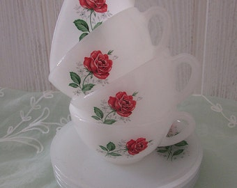 Arcopal Rose Teacups & Saucers