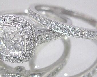 14k solid white gold cushion cut simulated diamond engagement ring and band bridal set wedding set bezel halo style 1.90ctw by ASW
