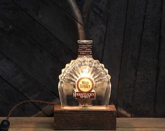 Upcycled Wild Turkey Bourbon Bottle Lamp / Kentucky Gift / Reclaimed Wood Base, Gift for Hunter, Bourbon Gifts, Whiskey Bottle Light