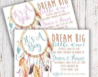 Boho Dream Catcher Baby Shower Invitation Digital File