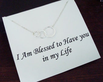Triple Half Flat Circle Infinity Silver Necklace ~Personalized Jewelry Card for Best Friend, Sister, Mom, Step Mom, Step Sister